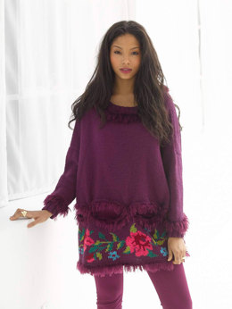 Embellished Pullover in Lion Brand Wool-Ease and Romance - L32141