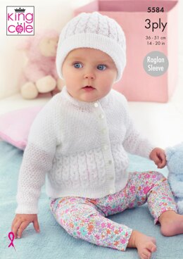 Cardigan & Hat in King Cole Big Value Baby 3Ply - 5584 - Downloadable PDF