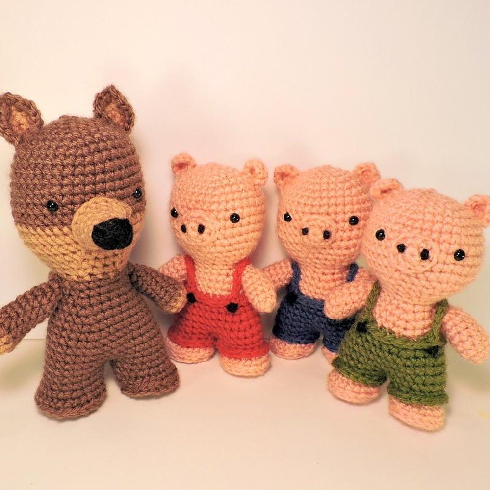 Three Little Pigs and The Big Bad Wolf Amigurumi Crochet pattern by ...