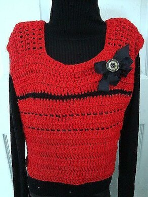 715 red crochet vest, baby to adult plus size