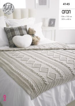 Throws in King Cole Big Value Recycled Cotton Aran - 4145 - Downloadable PDF