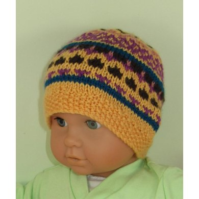 Baby and Toddler Simple Fairisle Beanie Hat