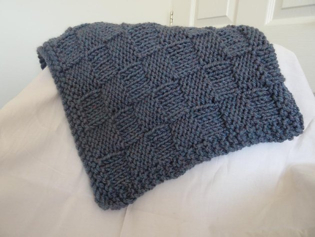 Baby blanket chunky blue Knitting pattern by Sandra Chapman Knitting Patter...
