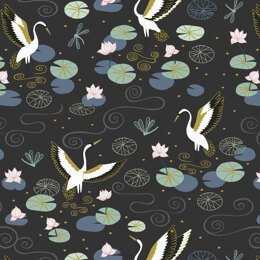 Lewis & Irene Jardin De Lis  - Black heron lake with gold metallic