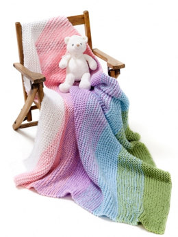 Gradient Garter Baby Blanket in Caron Simply Soft and Simply Soft Collection - Downloadable PDF