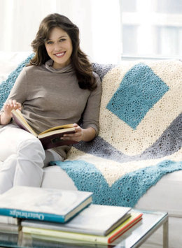 Soft Squares  Throw in Red Heart Soft Touch Solids - 928.0656 - Downloadable PDF
