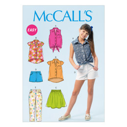 McCall's Girls'/Girls' Plus Tops, Skirt, Shorts and Pants M6951 - Sewing Pattern