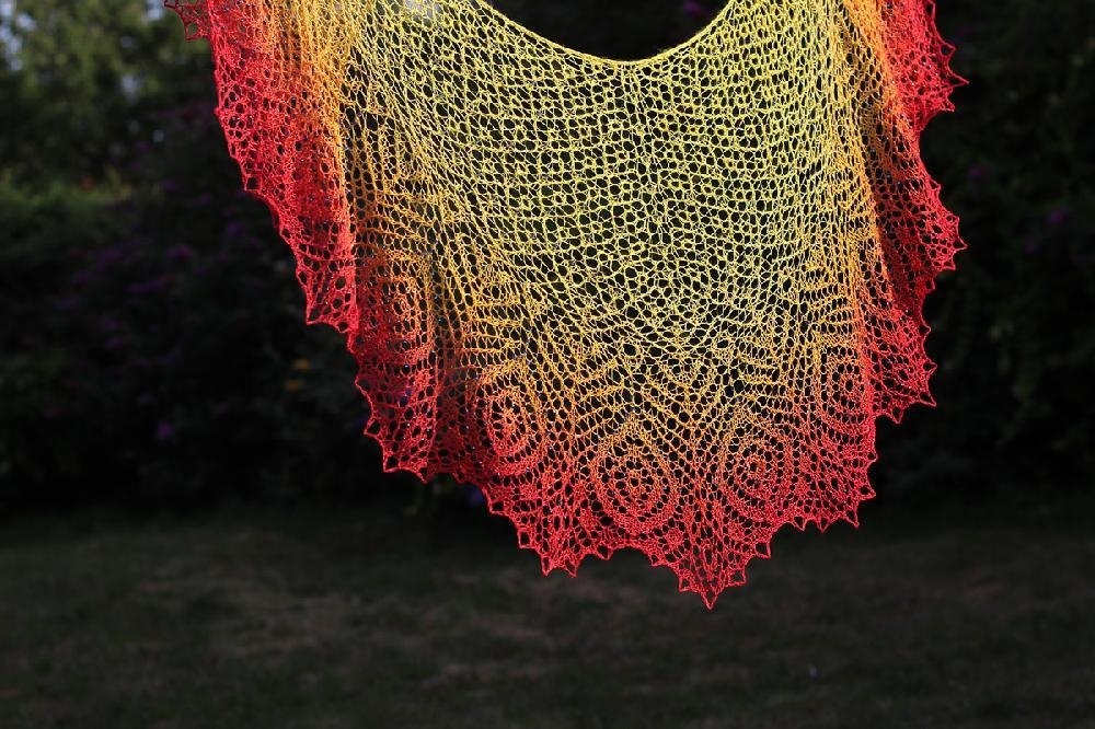 Strutting Peacock Lace Shawl Knitting pattern by Anna Victoria