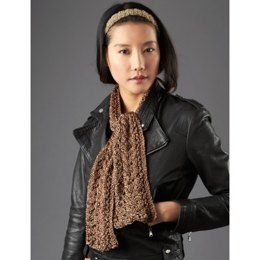 Lace and Cable Detail Scarf in Patons Metallic