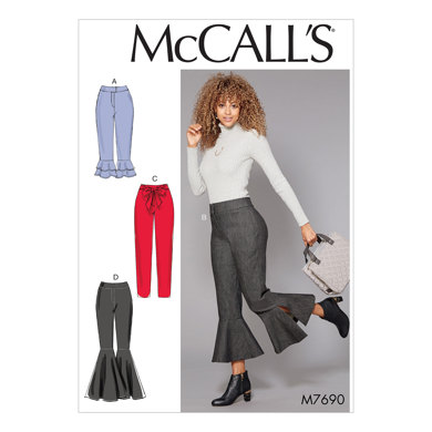 McCall's Misses' Pants With Flounce Variations and Sash M7690 - Sewing Pattern