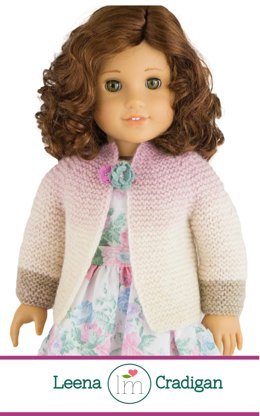 Leena Cardigan for 18 inch dolls, Doll Clothes Knitting pattern