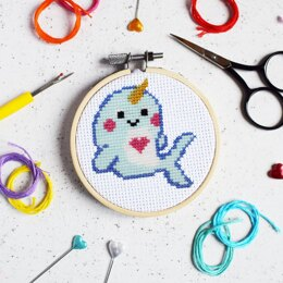 The Make Arcade Mini Cross Stitch - Magical Narwhal