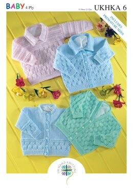 Cardigans and Sweater in King Cole Baby 4 ply - UKHKA6pdf - Downloadable PDF