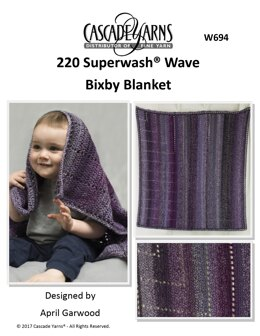 Bixby Blanket in Cascade 220 Superwash Wave - W694 - Downloadable PDF
