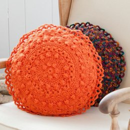 Puff Stitch Round Pillows in Red Heart Soft Solids - LW2725