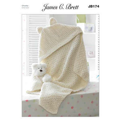 Hooded Blanket in James C. Brett Flutterby Chunky - JB174