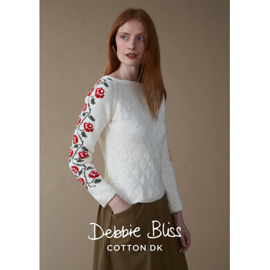 """Fleur Jumper"" : Jumper Knitting Pattern for Women in Debbie Bliss DK 