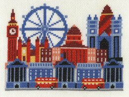 DMC London City Scene 14 Count Cross Stitch Kit - 17.8cm x 12.7cm - BK1650