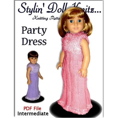 Doll clothes knitting pattern. Fits American Girl Doll. PDF, Party Dress, 016