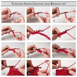 Left-Handed Instruction Pictures for Tunisian Crochet