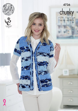 Cardigans in King Cole Big Value Multi Chunky - 4736 - Leaflet