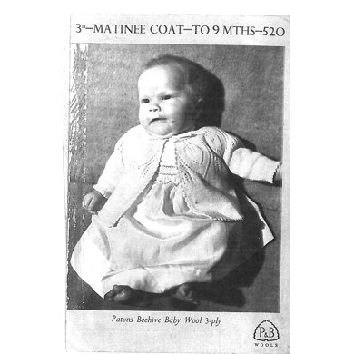 Matinee Coat in Patons Beehive Baby Wool 3 Ply