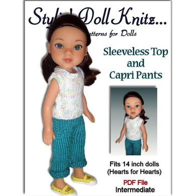 Sleeveless Top and Capri Pants fit Hearts for Hearts dolls and 14 inch dolls