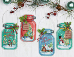 Dimensions Christmas Jar Ornaments Cross Stitch Kit - 7.5 inches