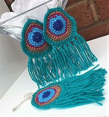 Crochet Jewelry Peacock Earrings And Necklace Crochet