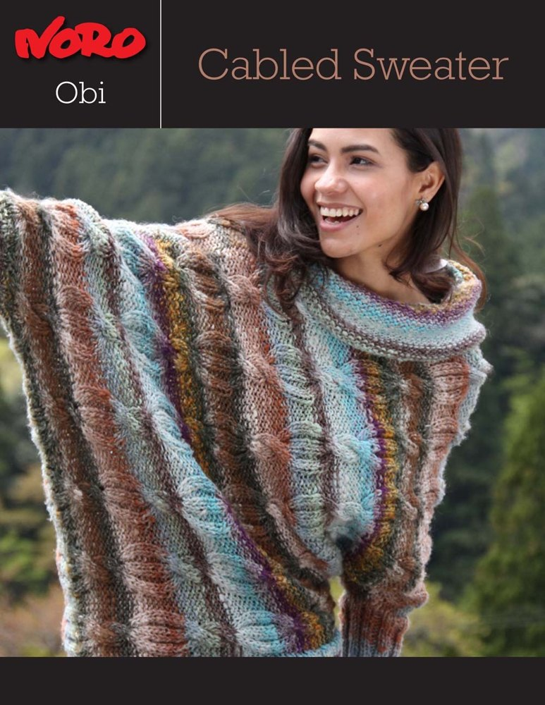 Cabled Sweater In Noro Obi Knitting Patterns Loveknitting