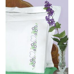 Jack Dempsey Stamped Pillowcases W White Perle Edge 2Pkg - Hearts with Flowers - Multi