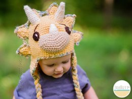Tops The Triceratops Dinosaur Hat PDF Crochet Pattern