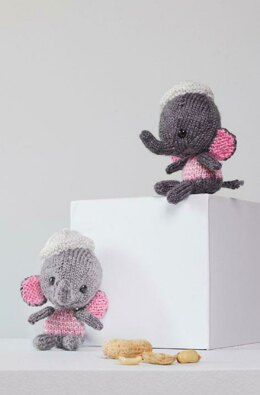 Emily & Edward Knit Elephants in Red Heart Amigurumi - LM6277 - Downloadable PDF
