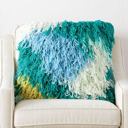 Freeform Fringe Crochet Cushion in Bernat Blanket Breezy - Downloadable PDF