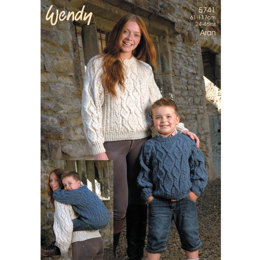 Family Crew Neck Cable Sweaters in Wendy Aran with Wool - 5741