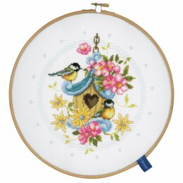 Vervaco Our Bird House Counted Cross Stitch Kit with Hoop