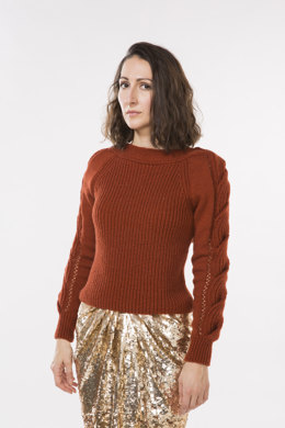 Women Sweater with Cable Sleeves in Bergere de France Barisienne - 60508-413 - Downloadable PDF