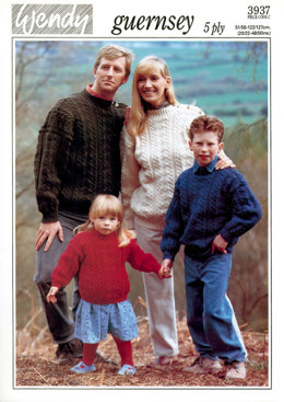 Family Guernsey Jumpers in Wendy Guernsey 5 Ply - 3937