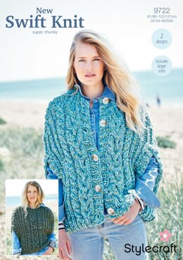 Cape Jacket and Sweater in Stylecraft New Swift Knit Super Chunky- 9722 - Downloadable PDF