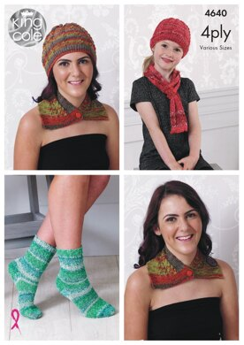 Neck Wrap, Hat, Scarf & Socks in King Cole Party Glitz 4Ply - 4640 - Downloadable PDF