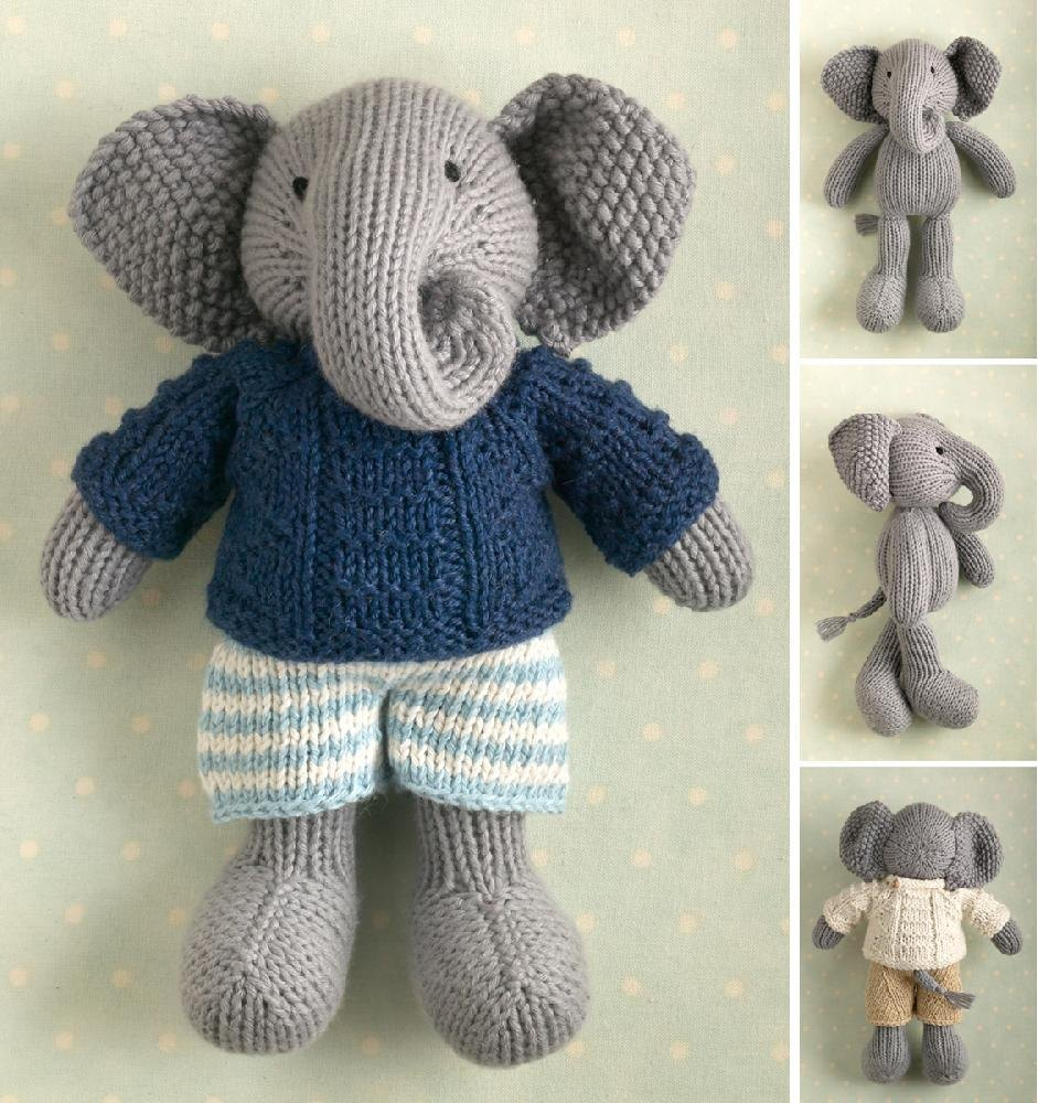 Boy Elephant in a textured sweater Knitting pattern by Julie Williams