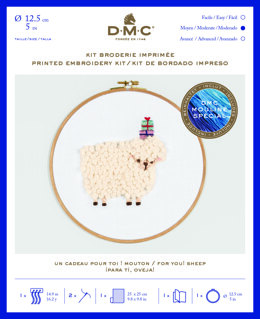 "DMC For you! Sheep (printed fabric, 5"" hoop) Embroidery Kit - 25cm x 25cm - TB124"
