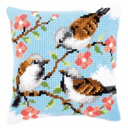 Vervaco Cross Stitch Kit: Cushion: Birds Between Flowers - 40 x 40cm