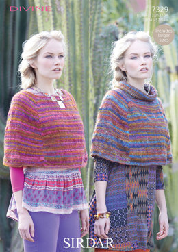 Round Neck and Stand Up Neck Ponchos in Sirdar Divine - 7329
