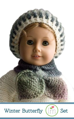 Winter Butterfly hat and scarf set for 18 inch dolls.  Doll clothes knitting pattern.