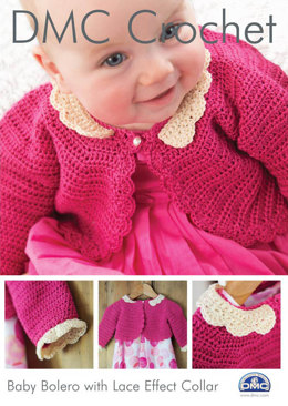Baby Bolero with Lace Effect Collar in DMC Petra Crochet Cotton Perle No. 3 - 15043L/2