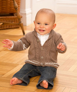 Preppy Baby Cardigan in Red Heart Miami