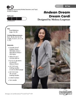 Dream Cardi in Cascade Yarns Andean Dream - W784 - Downloadable PDF