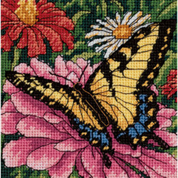 Dimensions Butterfly On Zinnia Needlepoint Kit - 5 x 5 inches