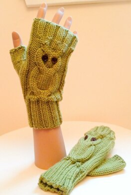 Owl Fingerless Gloves - 0038